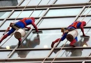 Мойщики пауки в Шанхае